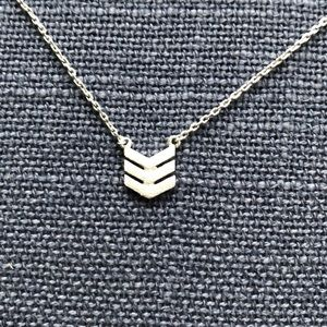 Silver Aldo necklace with chevron pendant